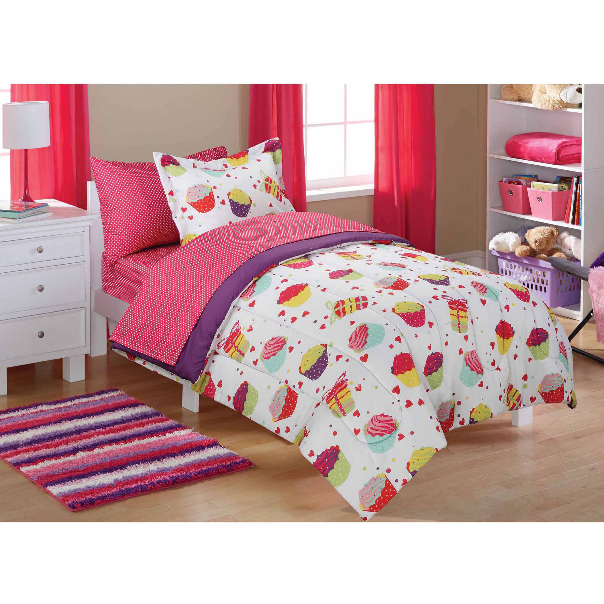 Mainstays Kids Cupcake Coordinated Bed In A Bag Walmart Com Walmart Com