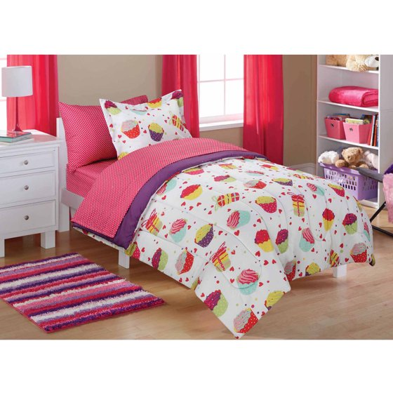 Mainstays Kids Cupcake Coordinated Bed In A Bag Walmart Com