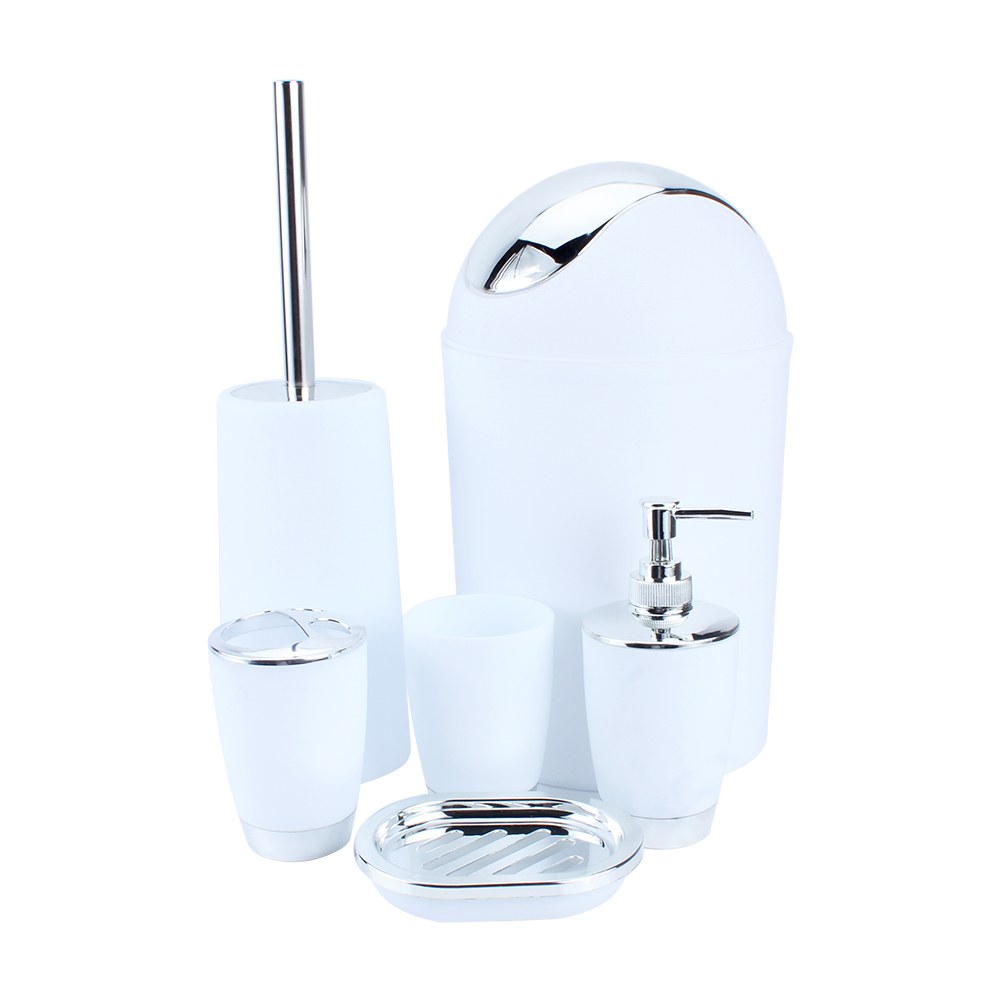 Bathroom Accessories Set, 6pcs Plastic Ensemble Bath Set Lotion Bottles,  Toothbrush Holder, Tooth