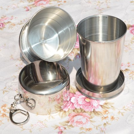 Stainless Steel Portable Camping Folding Collapsible Cup Metal Telescopic Keychain 75ml Color:3.0