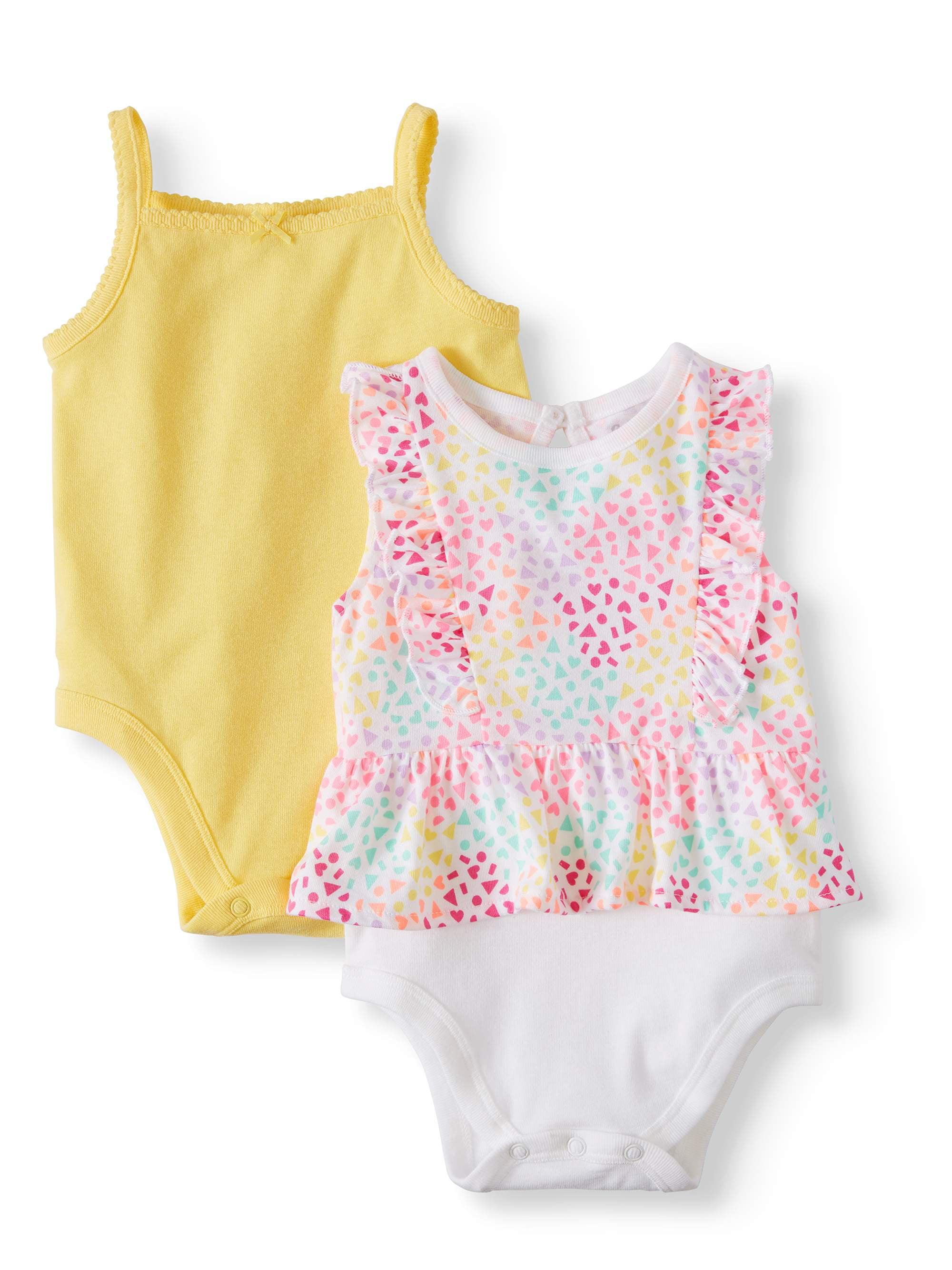Baby Girls' Solid Cami and Ruffle Peplum Bodysuits, 2-Piece Multi-Pack