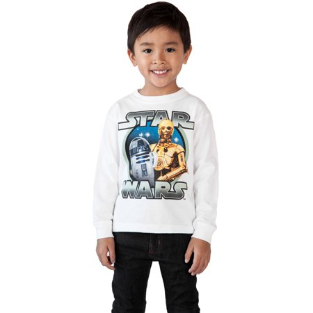 Toddler Boys Star Wars C3PO R2D2 Long Sleeve Shirt White