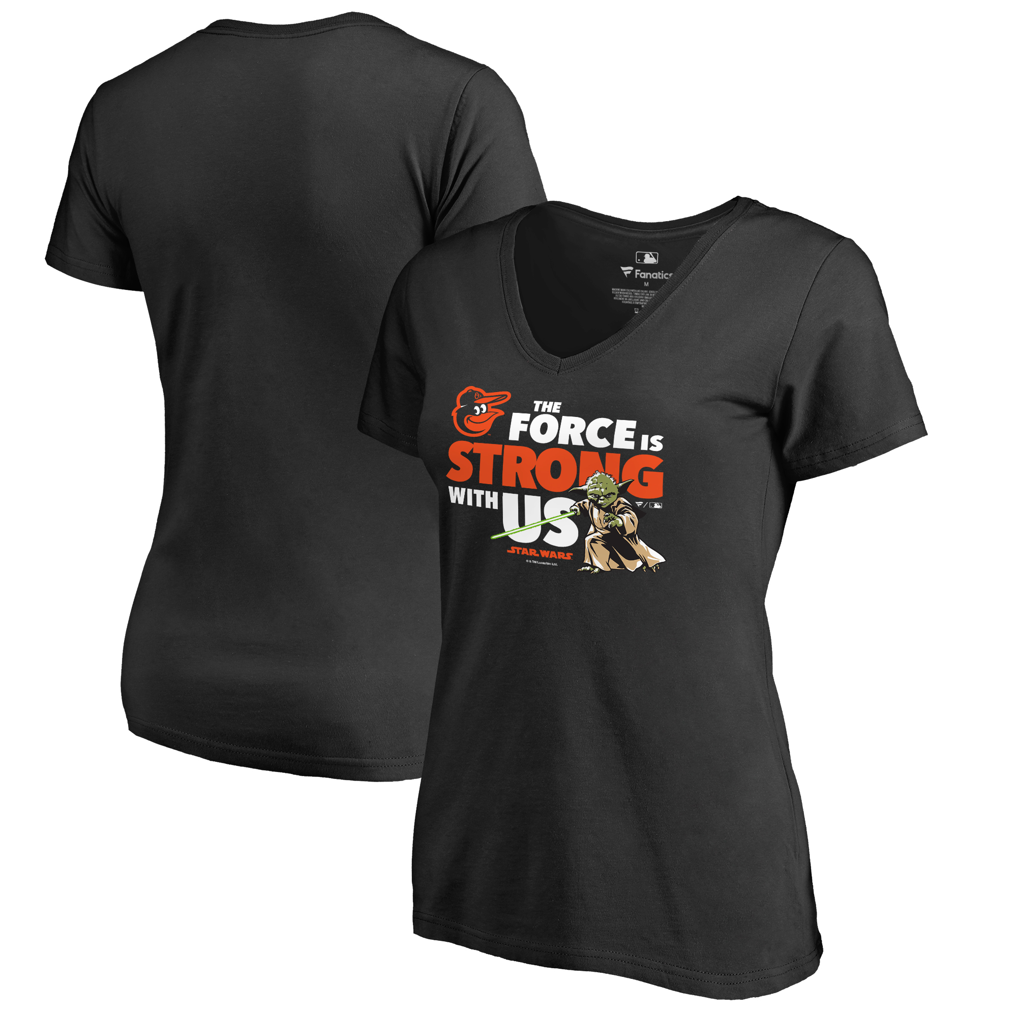Baltimore Orioles Fanatics Branded Women's Star Wars Jedi Strong V-Neck T-Shirt - Black