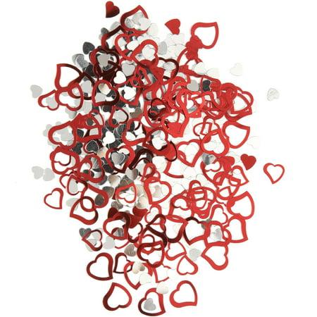 (4 pack) Foil Open Red Heart Confetti, 0.5oz - Heart Confetti