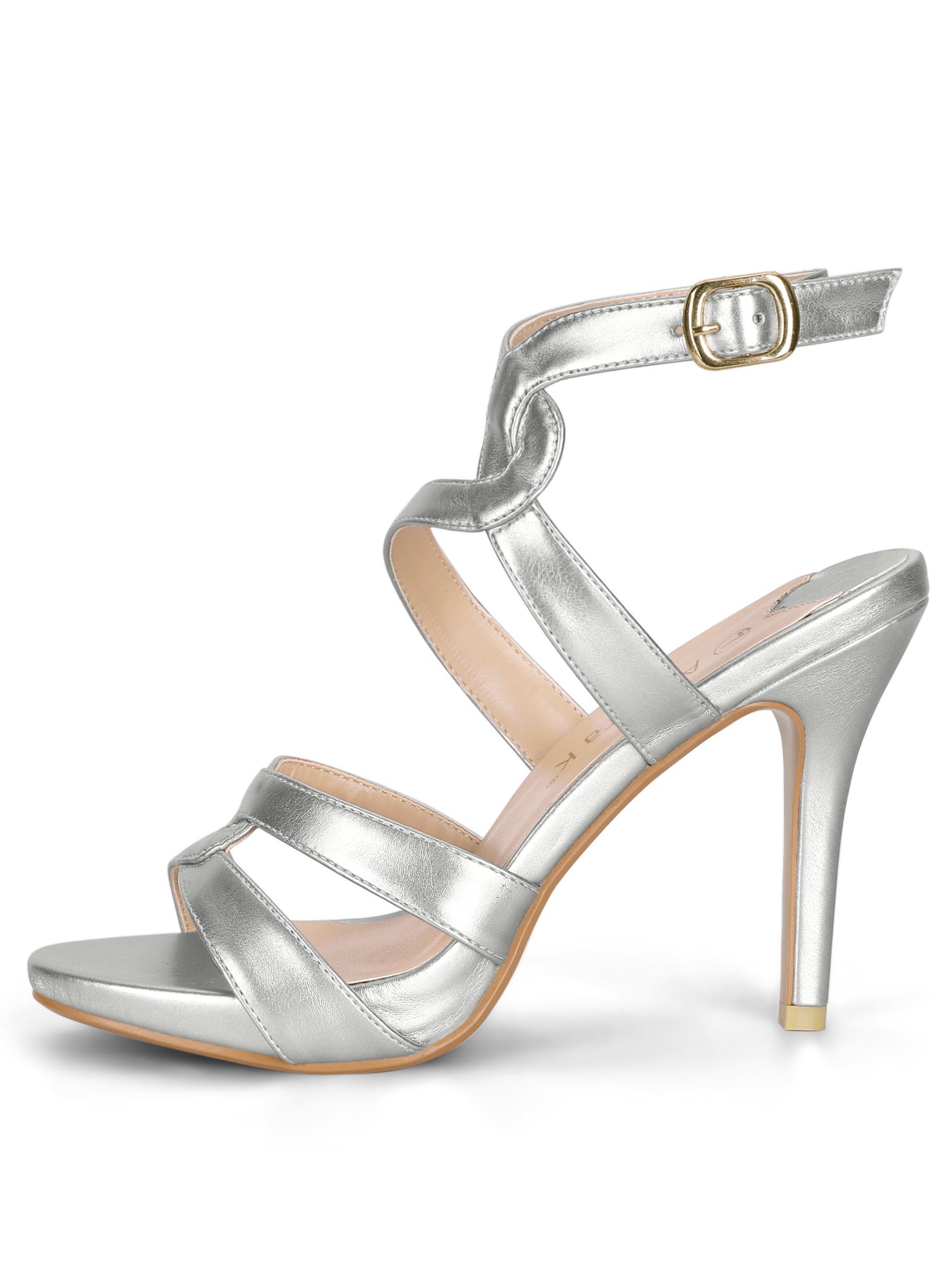 Women's Strappy Platform Stiletto Heel Sandals Silver (Size 5.5)