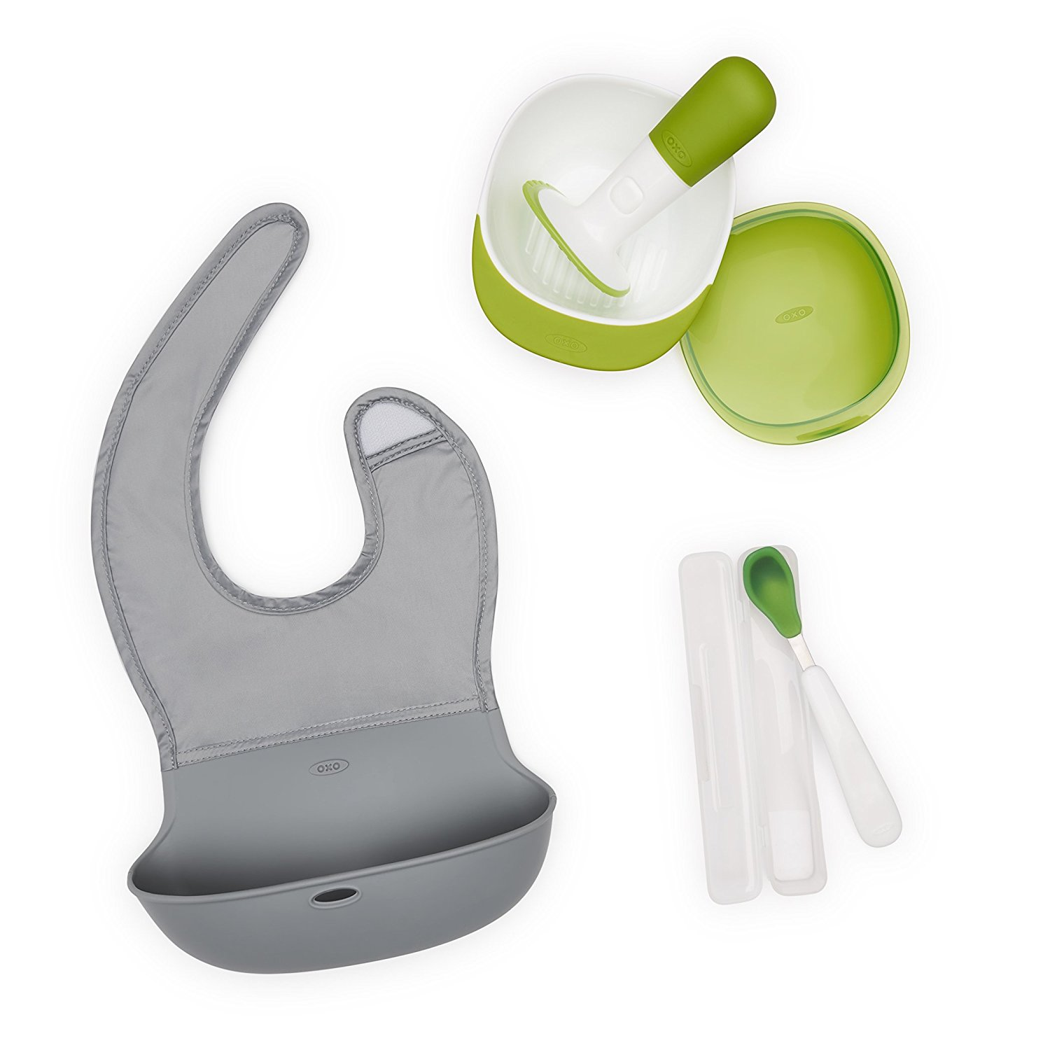 Tot Mealtime On-the-Go Set with Roll-up Bib, Food Masher, and Feeding Spoon with Case..., By OXO Ship from US by OXO