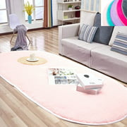 NK HOME 31.4 x 64.9 inches/ 80 x 165cm, Oval Fluffy Area Rug Non Skid Soft Shaggy Floor Carpet Mat Living Room Bedroom for Girls Kids Room Home Decor, Hot-pink/ Purple/ Pink/ Grey/ Turquoise Blue