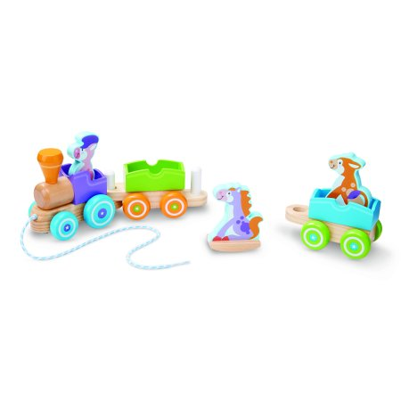 Melissa & Doug First Play Wooden Rocking Farm Animals Pull Train (Melissa And Doug Stacking Train)