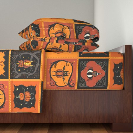 Halloween Bed Sheets (Vintage Halloween Retro Kitsch 100% Cotton Sateen Sheet Set by)