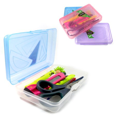 School Pencil Box Case Kids Office Supplies Pen Art Craft Organizer Plastic New - Art Boxes