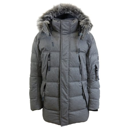 Snowboard Jacket Charcoal (Men's Heavyweight Down Parka Jacket With Detachable Hood )