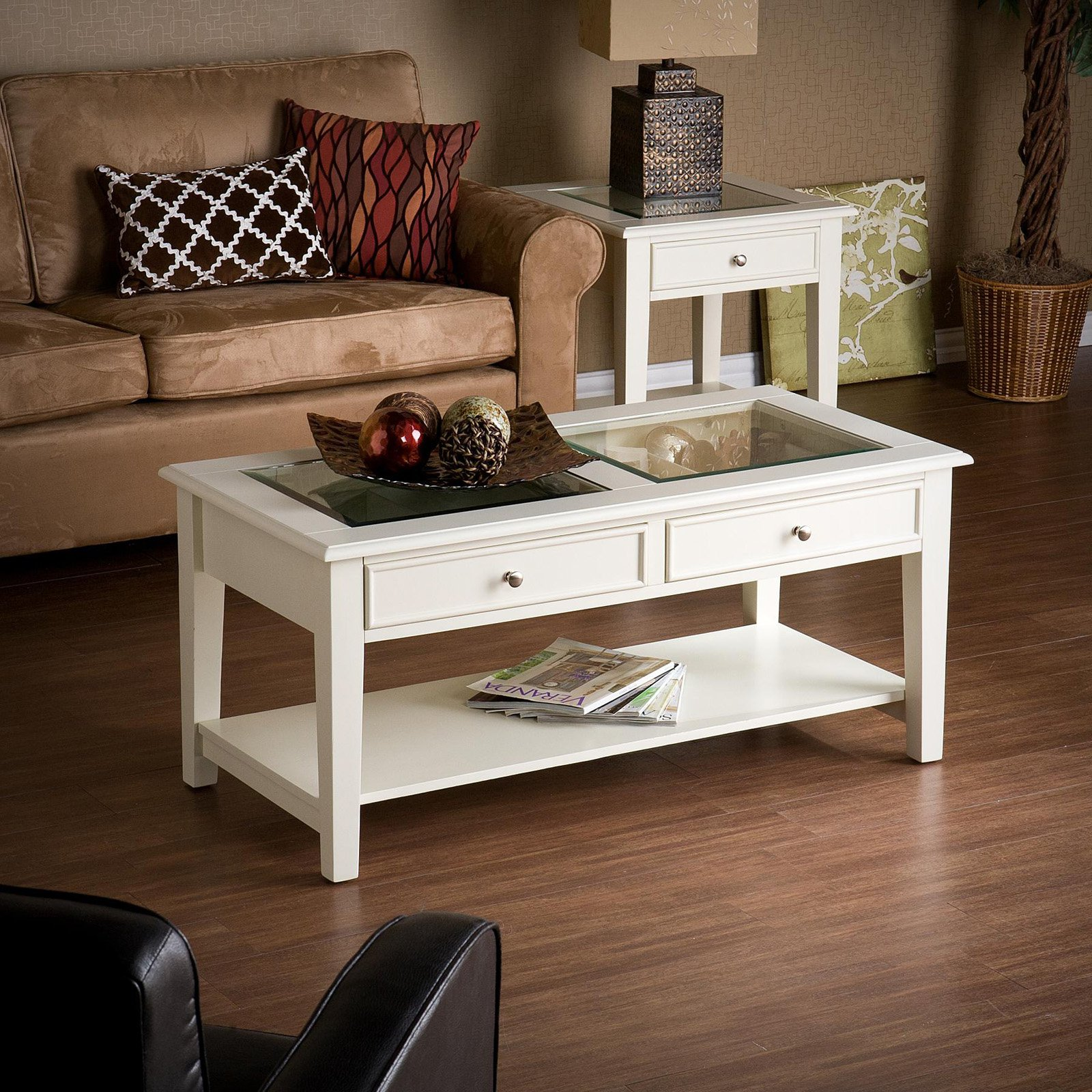 Beau Southern Enterprises Panorama Cocktail Table, White   Walmart.com