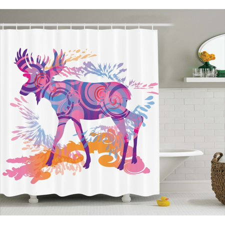 Moose Shower Curtain Unusual Deer Figure With Trippy Featured Color Effects Digital Vivid Display