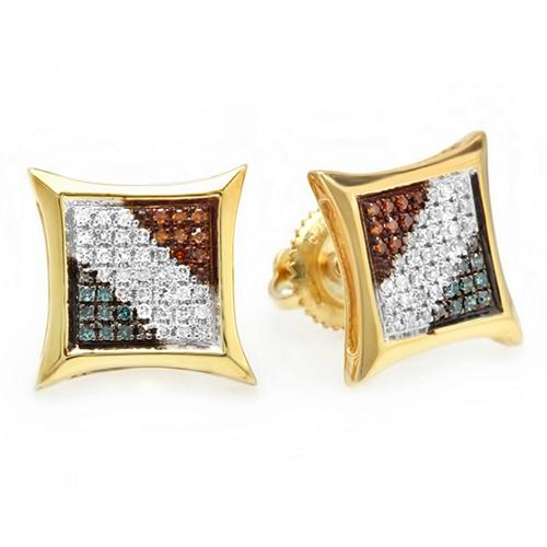 Sterling Silver 1/4ct TDW Color Diamond Micro Pave Setting Kite Shape Stud Earrings (I2-I3)