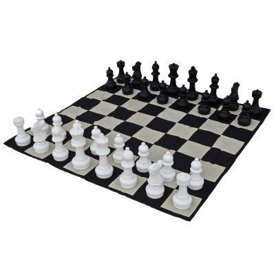 Click here to buy MegaChess Large Chess Pieces and Large Chess Mat Black and White Plastic 12 inch King by MegaChess.