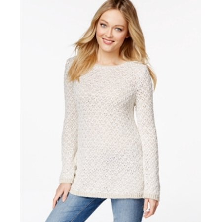 Charter Club Women's Crew Neck Textured Sand Combo Sweater Size S