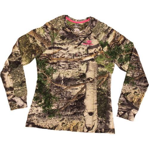 Mossy Oak Women's Long Sleeve Camo Henley Tshirt, MO Country by Generic