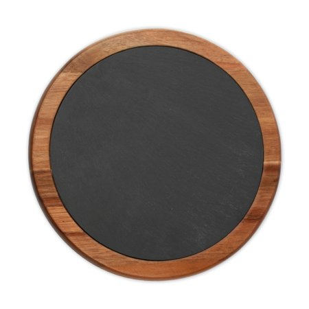 Monogram Online Traditional Round Slate Cheese Board w/ Acacia Wood Border](Round Monogram)