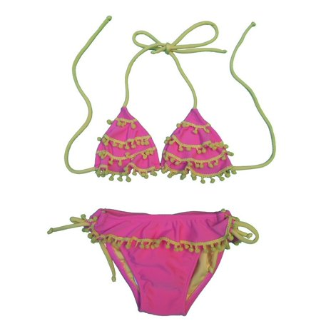 b3506f738a2f6 Lemons & Limes - Little Girls Pink Yellow Pom-Pom Trim Triangle 2 Pc Bikini  Swimsuit - Walmart.com