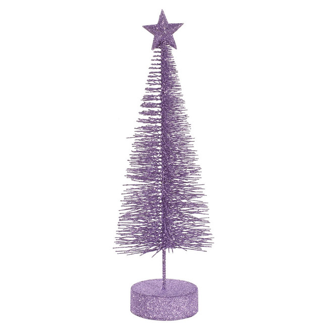 """Pack of 2 Lavender Purple Glitter Sisal Artificial Table Top Christmas Trees 12"""""""