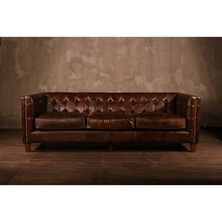 Chesterfield Sofa Genuine Antique Black Leather