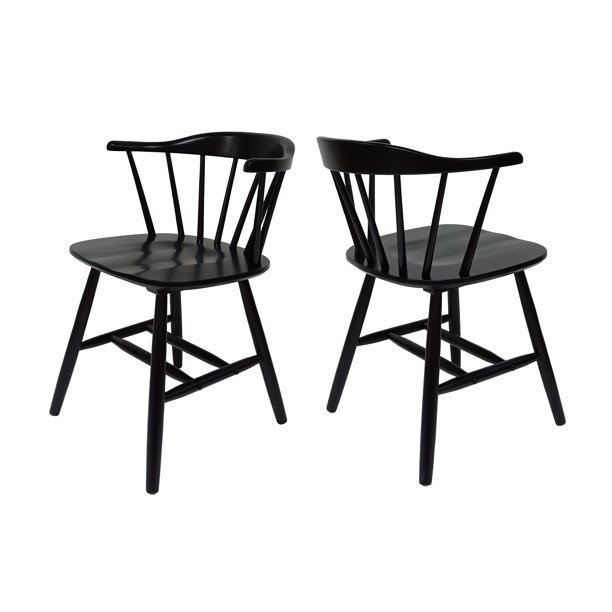 Mia Farmhouse Spindle Back Rubberwood Dining Chairs Set Of 2 Black Walmart Com Walmart Com