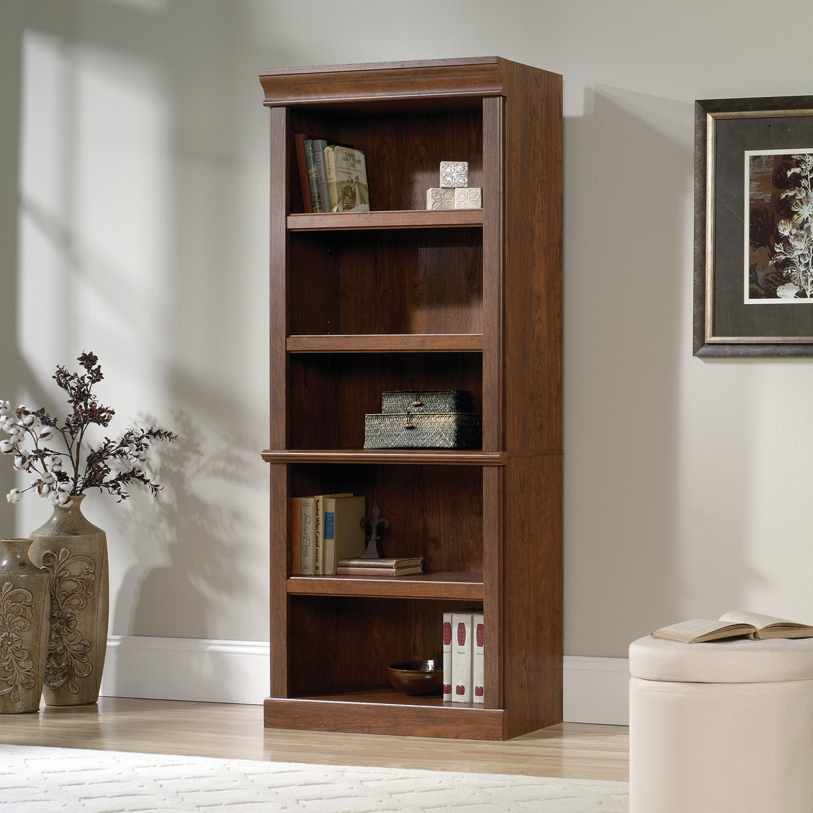 Sauder Orchard Hills Library Bookcase with Optional Doors