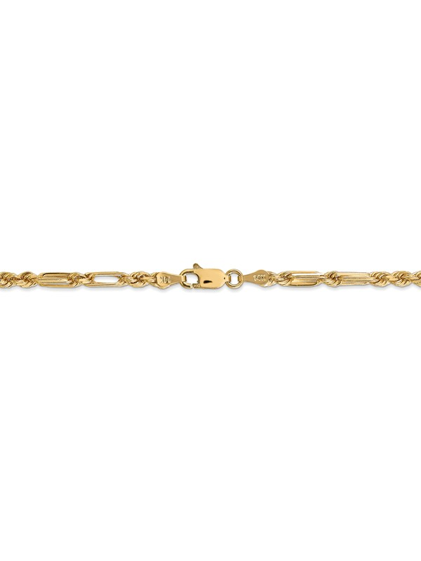 14k Gold 2.5mm D//C Rope with Lobster Clasp Chain 9 Inches