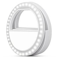 Selfie Ring Light for Camera, Rechargeable LED Selfie Light 3-Level Brightness for Iphone 7/7 Plus 6/6 Plus 6S/6S Plus 5S SE Samsung Galaxy S8/S8 Plus S7 S6 Edge-White