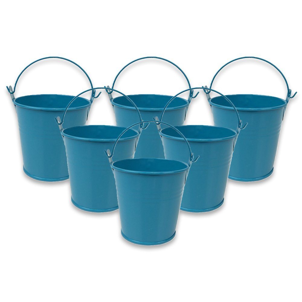 "Just Artifacts Mini 3""H Metal Crayon/Pencil Holder Favor Bucket Pail (6pcs, Teal) - Metal Favor Buckets and Craft Supply Holders for School, Birthday Parties and Events!"