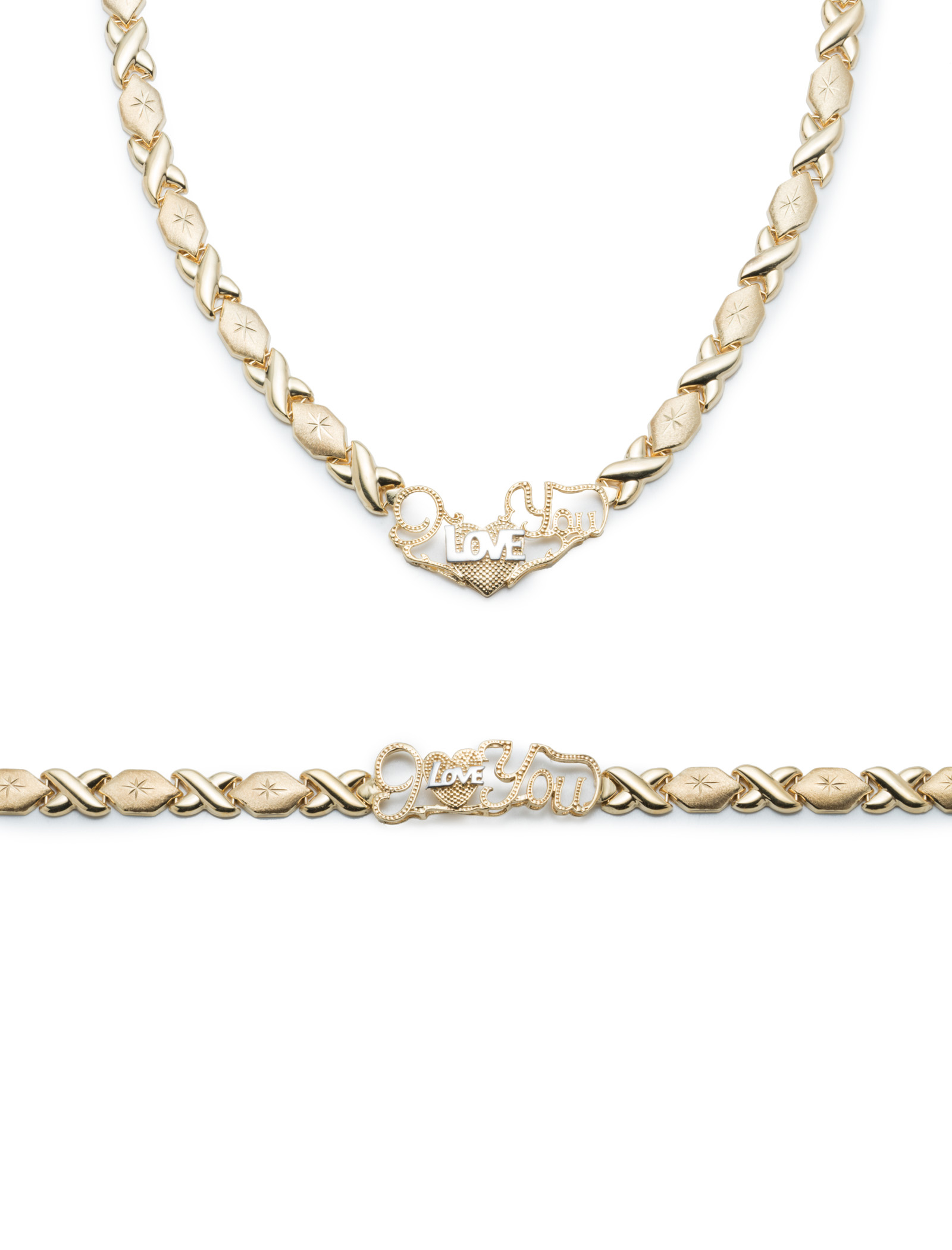 925 real sterling silver I love you xoxo heart set necklace and bracelet hugs and kisses stampato 14k tri color gold tone color