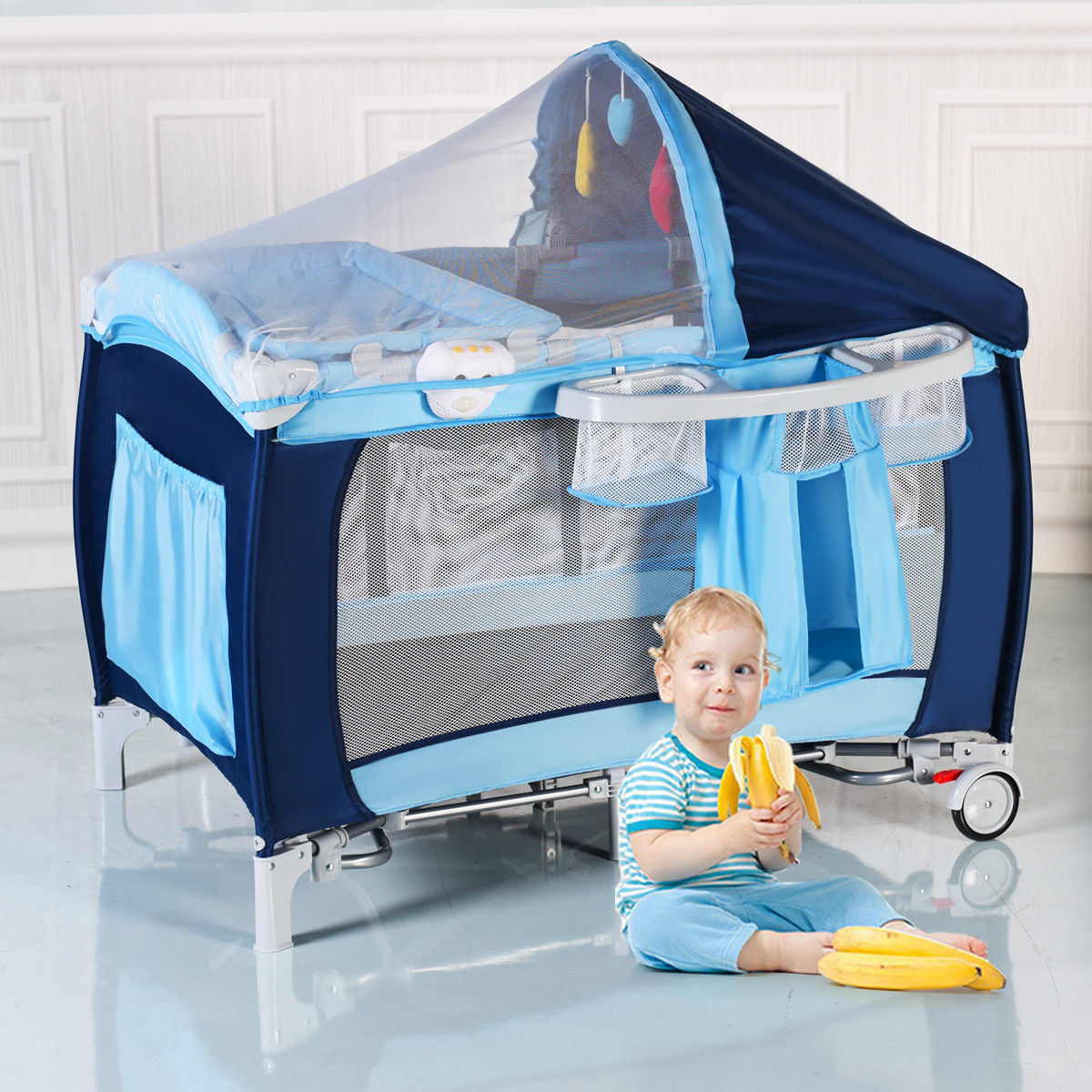 Costway Foldable Baby Crib Playpen Travel Infant Bassinet Bed Mosquito Net Music w Bag by Costway