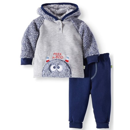 Fur Front Fleece Hoodie & Joggers, 2-piece Outfit Set (Baby Boys)
