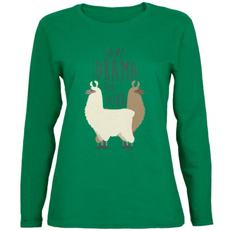 Save the Drama for Your Llama Pun Womens Long Sleeve T