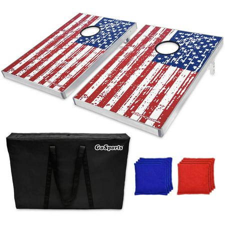 GoSports Foldable Cornhole Boards Bean Bag Toss Game Set, Superior Aluminum Frame, American Flag Design w/ 8 Bean Bags and Portable Carry Case