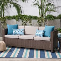 Palmetto Outdoor Wicker 3 Seater Sofa with Cushions,Grey,Brown
