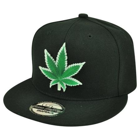 Marijuana Acrylic Weed Leaf Symbol Black Flat Bill Snapback Cannabis