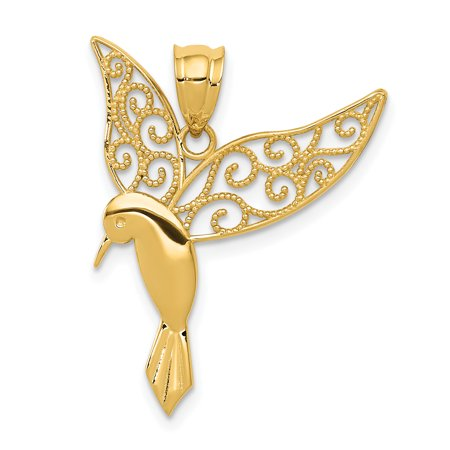 14k Yellow Gold Hummingbird Pendant Charm Necklace Bird Gifts For Women For Her 14k Yellow Gold Hummingbird Charm