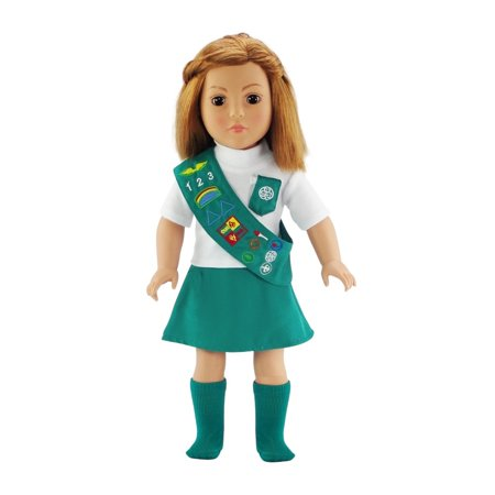 Doll Outfit Similar to Junior Girl Scout with SOCKS | 18 Inch Dolls Clothes Fits American Girl | Gift-boxed!](Halloween Girl Scout Ideas)