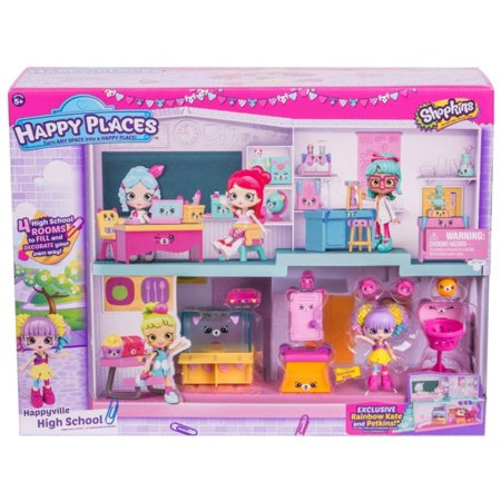 Happy Places Happyville High School Playset,Walmartes with Exclusive Rainbow Kate Cheerleader Lil' Shoppie and exclusive Petkins! By Shopkins