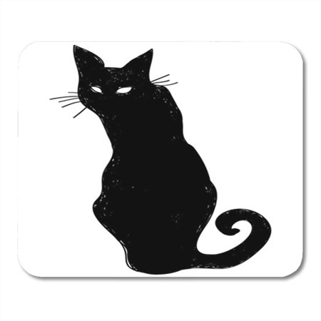 LADDKE Vector Black Silhouette of a Sitting Cat Crow Characters Halloween Mousepad Mouse Pad Mouse Mat 9x10 inch - Halloween Vector