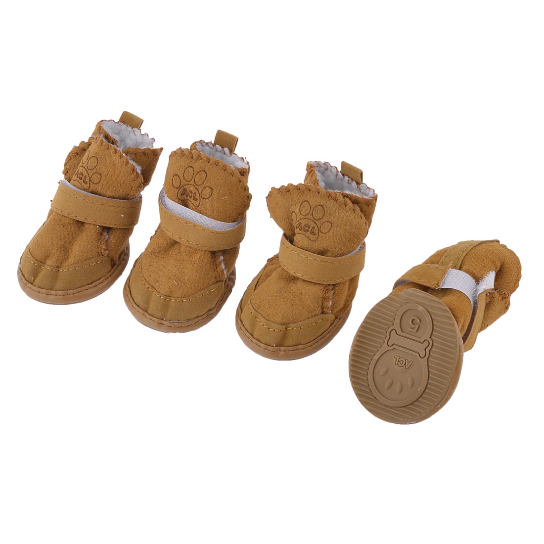 Unique Bargains 2 Pairs Brown Running Paw Print Detachable Closure Pet Dog Shoes Boots Booties S