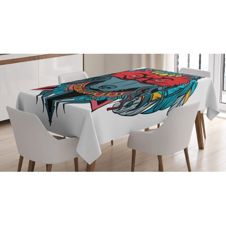 Native Mask (Tribal Tablecloth, Indian Warrior Wolf Portrait with Mask Feathers Native American Animal Art, Rectangular Table Cover for Dining Room Kitchen, 60 X 84 Inches, Teal White and Red, by)