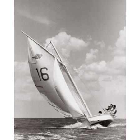Four people sailing a sailboat Poster Print