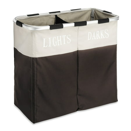 "Whitmor Easycare® Double Laundry Hamper Basket - Clothes Separator - Espresso - 12.5"" x 24.75"" x 21.5"""