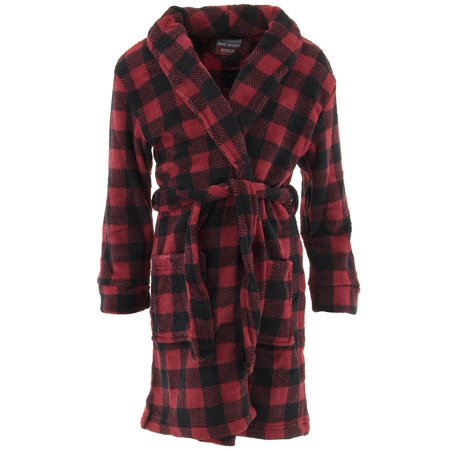 Red Fleece Bath Robe (MacHenry Boys Plaid Red Fleece Bathrobe )