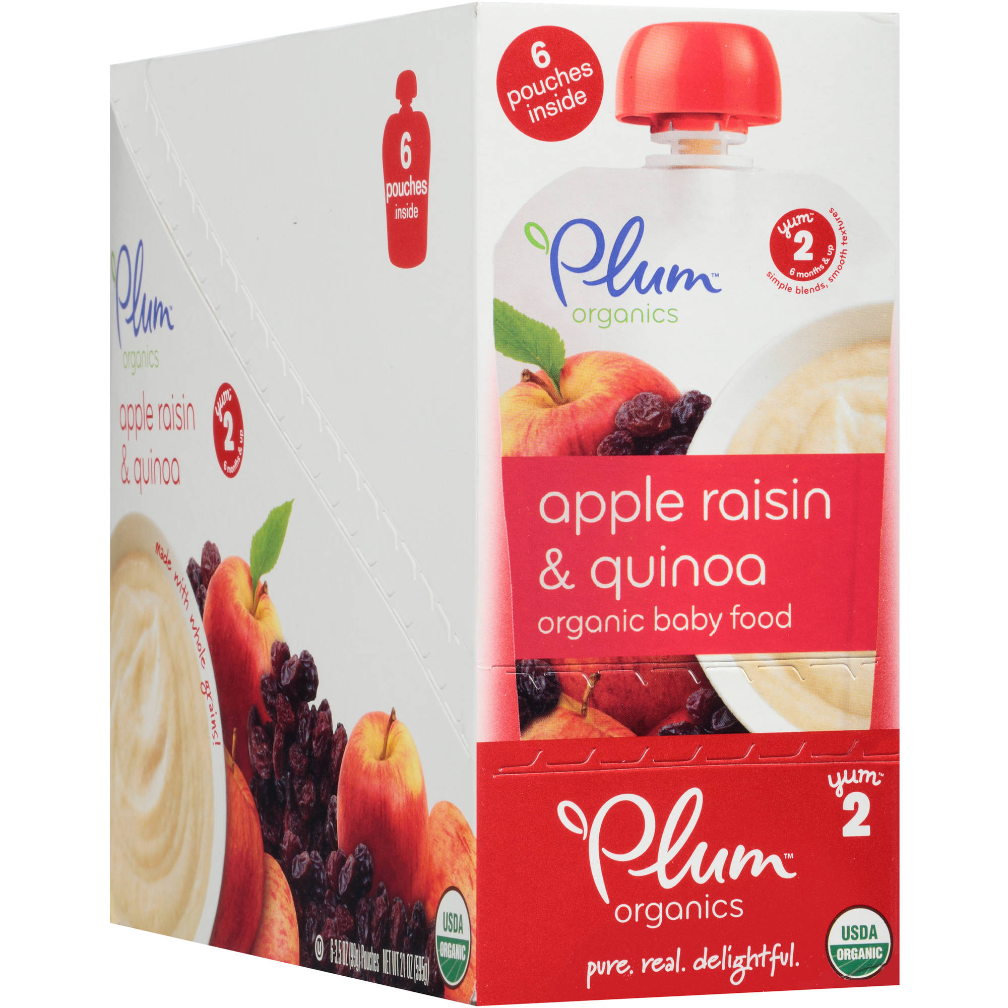 Plum Organics Stage 2 Apple, Raisin & Quinoa Organic Baby Food, 3.5 oz, 6 count by Plum Organics
