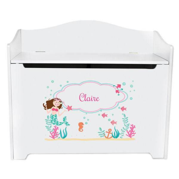 Personalized Brunette Mermaid Princess White Toy Box Bench