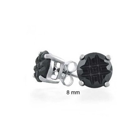 Geometric Cubic Zirconia Round Solitaire Black Invisible Cut Stud Earrings For Men Women 925 Sterling Silver More Sizes
