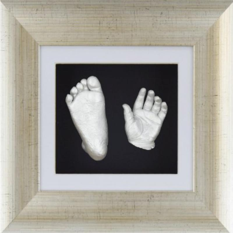 New Baby Casting Kit 3D Casts Christening Gift Silver Photo Box Display Frame